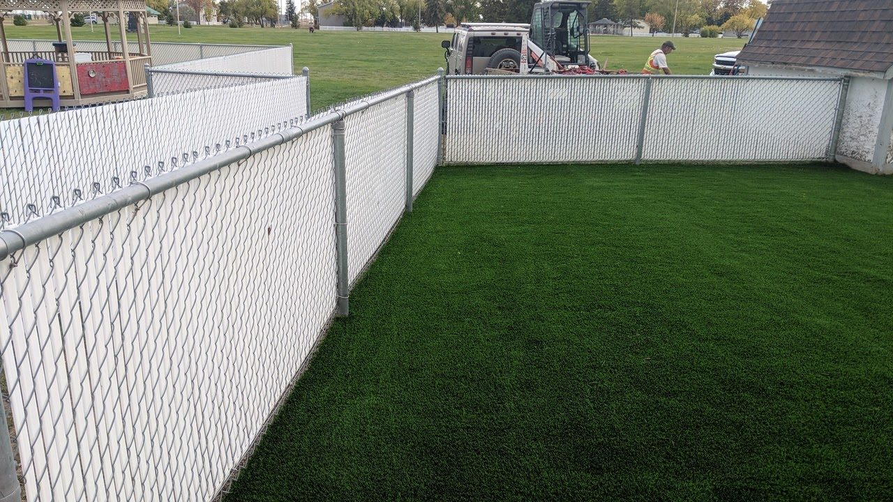 daycare install synthetic turf after