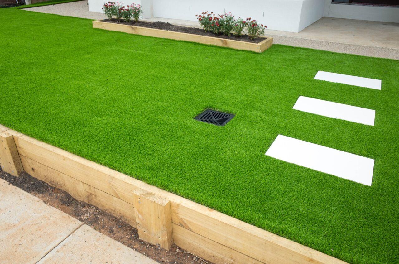 Artificial grass lawn bowling